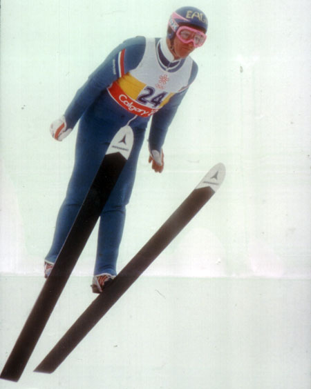 Eddie the Eagle! Britain's lone entrant in the 1988 ski jump.