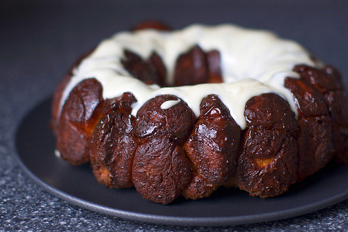 http://smittenkitchen.com/2010/02/monkey-bread-with-cream-cheese-glaze/