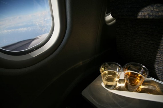 drinking-on-airplane