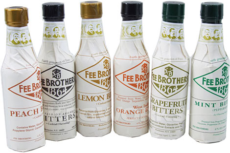 Fee Brothers Old Fashioned Bitters, in many flavors